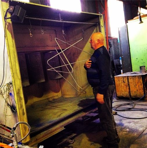 John Lynch from Jet Hot Coatings Australia admiring the beauty of our sandblasted frame before she gets powder coated. {www.TheButterflyChair.com.au —Made in Castlemaine}