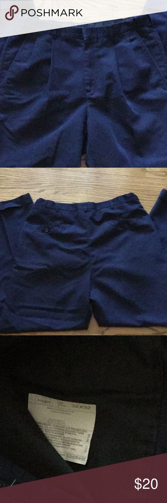 "Men's Haggar Black Label Navy Blue Dress Pant 32 Inside has hidden elastic so it can fit up to 33"" waist, pleated, cuff dress pant Haggar Pants Dress"