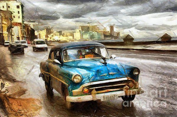 Old car drawing by Daliana Pacuraru
