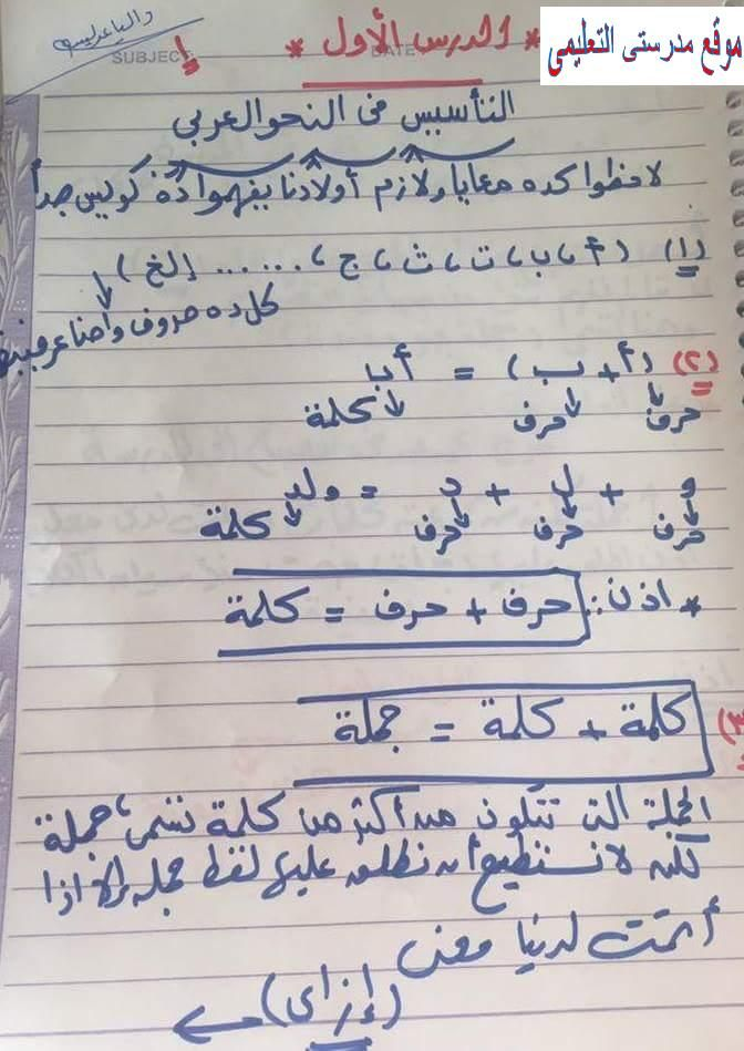 أقوى مذكرة تأسيس نحو بخط اليد للأستاذة داليا عديسه Https Www Myschool77 Com 2018 09 Grammar Arabic Html Arabic Calligraphy Education Grammar