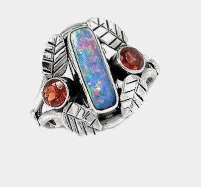 Australian FIRE OPAL Blue, Pink, Green colors & Garnet Genuine Gemstones 925 Sterling Silver Leafy Renaissance Style Ring Jewellery S 7!!! by Ameogem on Etsy