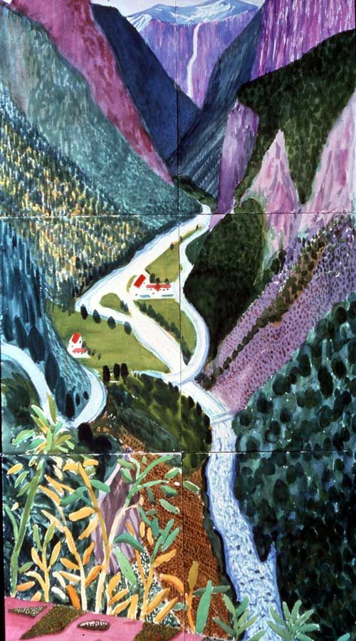 The Valley Stalheim (2002) | David Hockney   David hockney is a land scape painter he started painting landscapes in 2006 he usually adds a unrealistic hint to his paintings he went to the royal art college