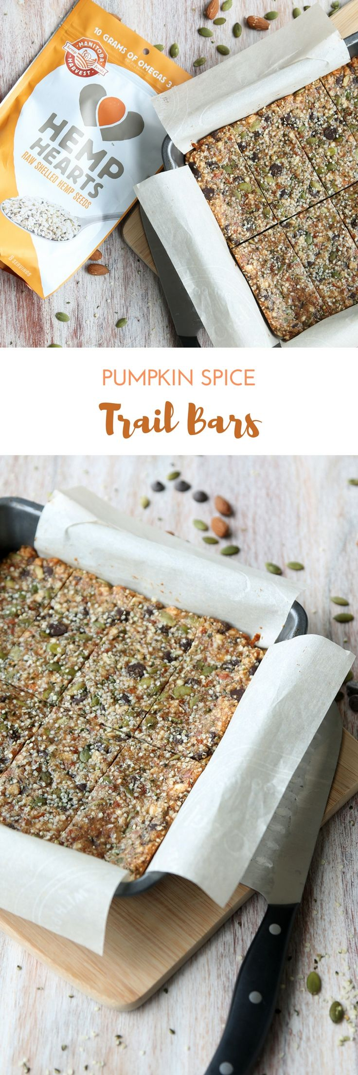 These Pumpkin Spice Trail Bars are packed with almonds, chocolate chips, Hemp Hearts, and pumpkin seeds. They make a great healthy snack that will fuel you through any fall hike!