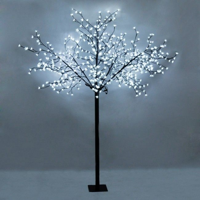 Large decorative cool white sakura tree light with 600 for Cherry tree floor lamp