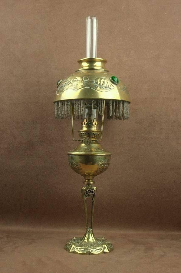 Détails sur BELLE LAMPE A PETROLE PARISIENNE ART NOUVEAU EN