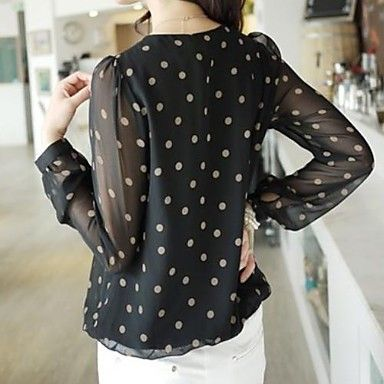 Women's Casual Chiffon Polka Dots Round Blouse - USD $ 12.49