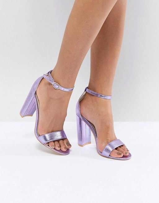 373cfe3a408 Glamorous Metallic Purple Barely There Block Heeled Sandals in 2019 ...