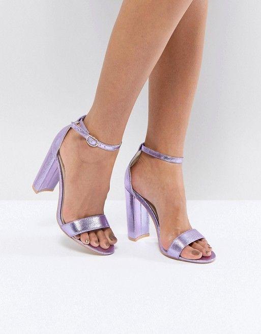caa45226733 Glamorous Metallic Purple Barely There Block Heeled Sandals in 2019 ...