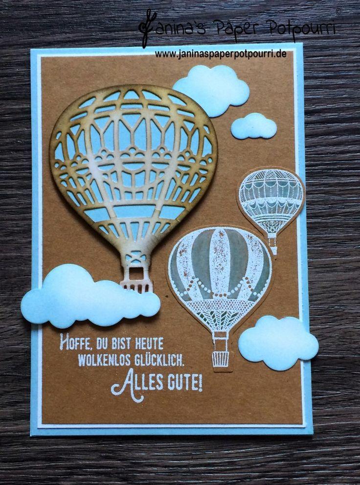 jpp - lift me up card / white washed balloons / Karte Heißluftballons / nostalgisch / Himmelblau / Soft Sky / Stampin' Up! Berlin / Abgehoben / Thinlits Formen In den Wolken  www.janinaspaperpotpourri.de