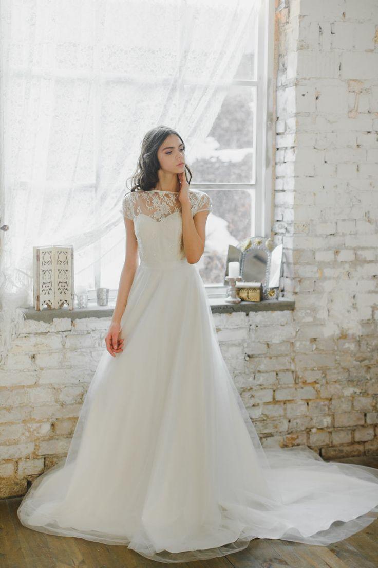 Romantic Illusion Neckline Wedding Dress - Chic Vintage Brides : Chic Vintage Brides