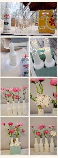 Here is a decor idea from The Colorful Living Project blog that is very simple to do. The glass bottles are spray painted and could serve as a centerpiece, as a vase, and even as a gift. If ...