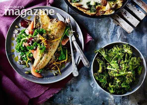 Image: Pan-fried mackerel with kale, beetroot and blood orange salad