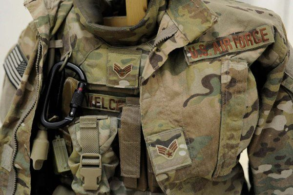 """The Operation Enduring Freedom Camouflage Pattern, or OCP, uniform, also known as the """"multi-cam,"""" is the Air Force-designated uniform for Airmen performing """"outside the wire"""" missions. (U.S. Air Force/Senior Airman Sandra Welch)"""