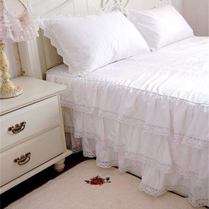 3 layers luxury rufflled bedspread 100% satin cotton lace bed skirt bed sheet handmade bedspreads twin bed skirts queen size