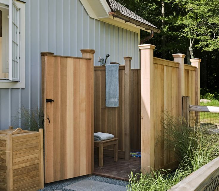 Superior Cedar Plank Outdoor Shower.
