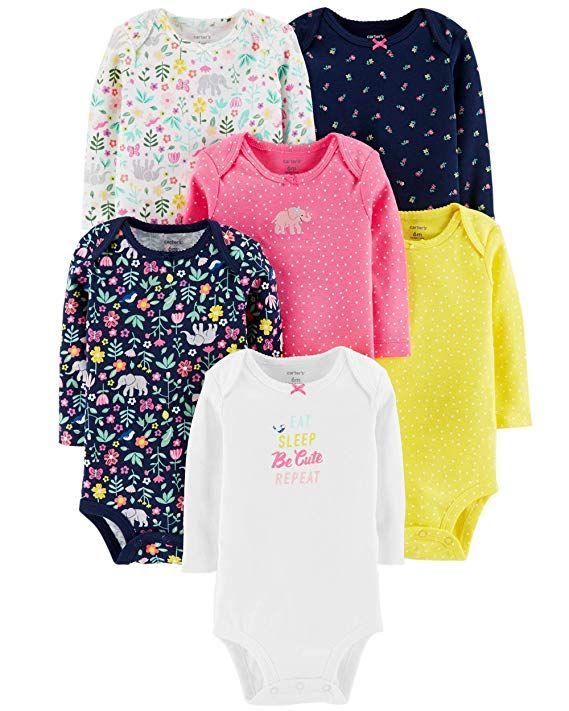 40e3c2297 Carter's Unisex Baby Long-Sleeve Bodysuits (Newborn, 6 Pack Girls ...