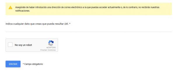 Indica cualquier dato útil para recuperar tu cuenta inhabilitada de Gmail