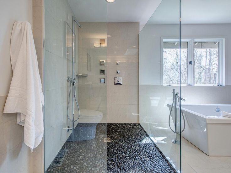 sleek modern bathroom remodel stone shower floorpebble shower floortile