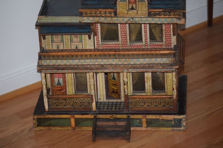 Antique Dollhouse Bliss Large Doll House For Miniatures Blue Roof from oldeclectics on Ruby Lane