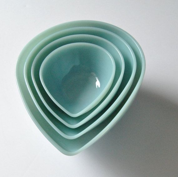 4 Fire King Swedish Modern Mixing Bowls Turquoise Azurite Vintage by ModernSquirrel