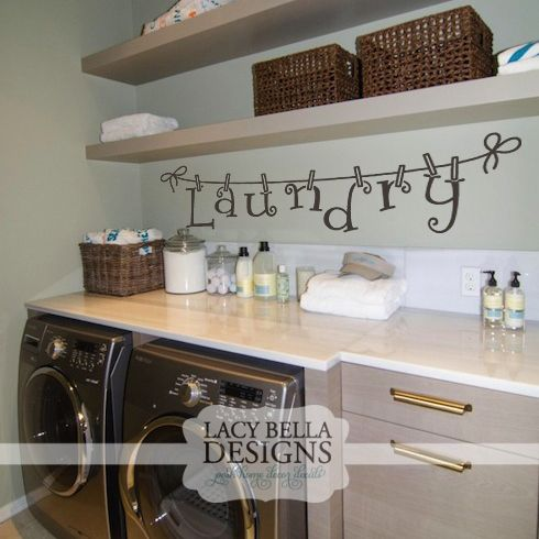 This laundry decal is a unique design with the letters being hung by clothes pins. Perfect for jazzing up the last place in the room most people decorate, but one of the most busy rooms in the home. Add some flair and you're walls be thankful! See more about this design here: http://www.lacybella.com/laundry-room/laundry-clothes-line/