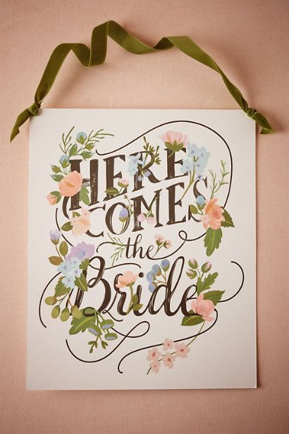 Here Comes the Bride Sign in Décor Decorations at BHLDN