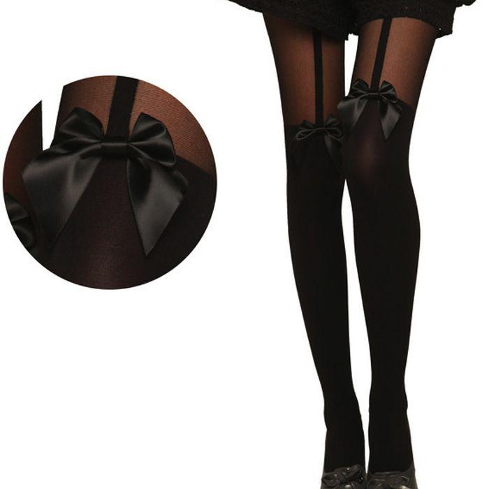 Новый 2015 женщины девушки леди жесткие сексуальные чулки колготки татуировки с бантом подвеска чистой ну вечеринку колготки черный Hot прямая поставка энн купить на AliExpress