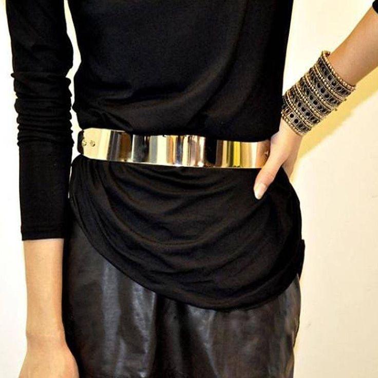 Women Mirror Metal Waist Belt Metallic Gold Plate Bling Shiny Wide OBI Band Belt #Unbranded #DECORATIONBELT