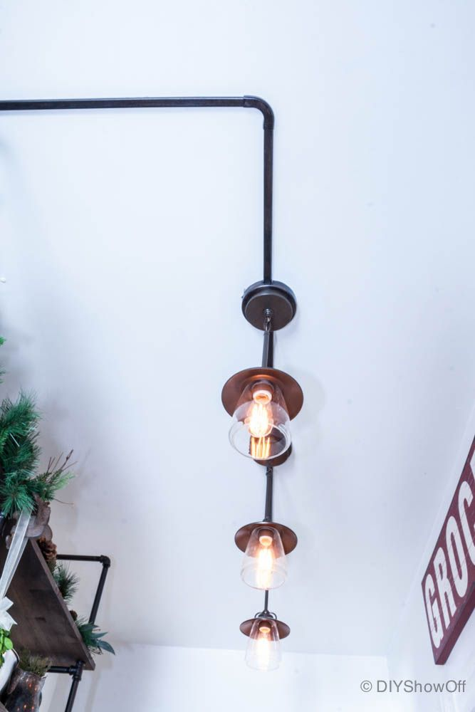farmhouse industrial pantry lighting... the perfect temporary fix to the living room dilemma!
