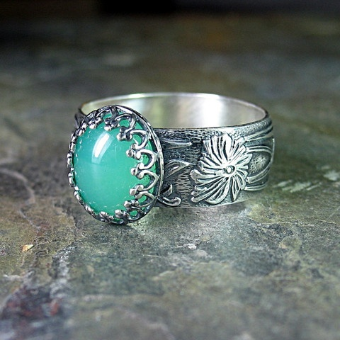 Renaissance Garden - Sterling silver and gemstone ring.  Available in Chrysoprase (shown), Amethyst, Black Onyx, Citrine, Amazonite and Rose Quartz  ....from Lavender Cottage Jewelry