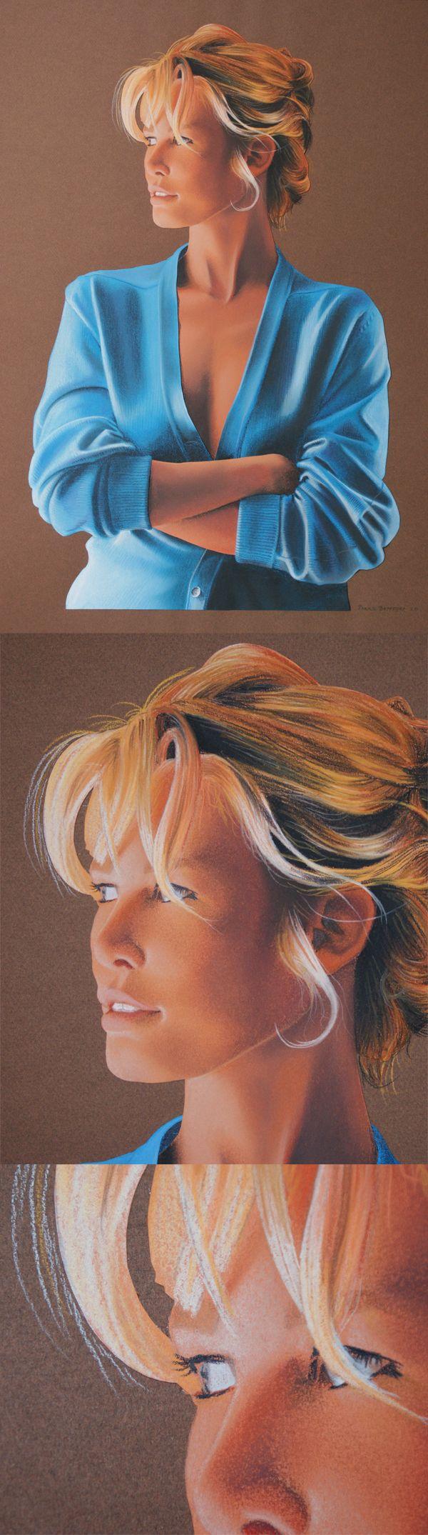 """Portrait de Claudia Schiffer.Réalisé en 1993 avec des crayons de couleur Stabilo """"Carbothello"""" sur papier Canson 50x65cm"""