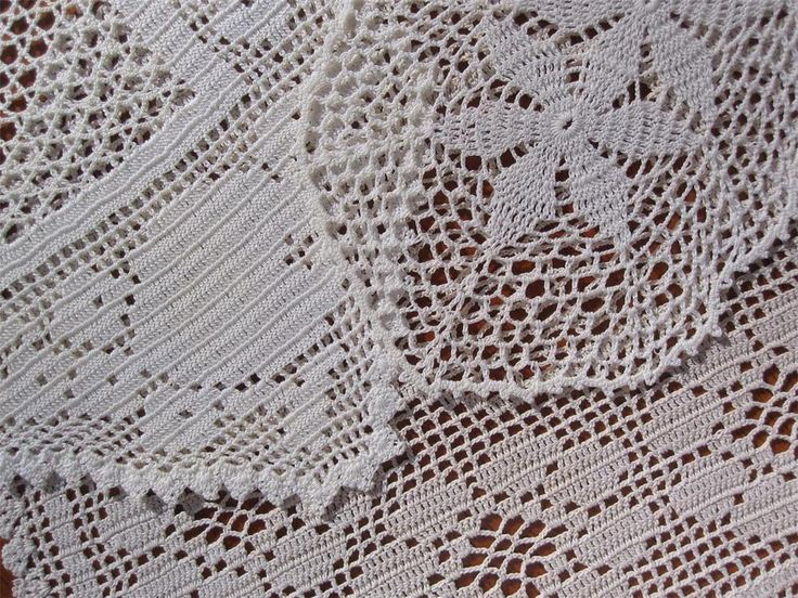 Three Vintage Hand Made Filet Lace Crochet DOILIES