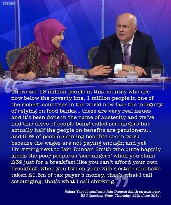 Salma Yaqoob v Iain Duncan Smith - Question Time 12/6/14 pic.twitter.com/IntFKexOnj