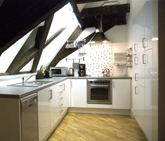 Attic kitchen. Very interesting concept here
