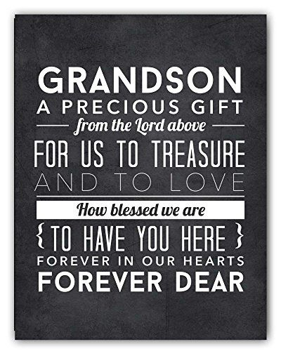 Adorable Grandchild Grandson Gift from Grandparents, Grandson Quote Chalkboard Nursery Art Print