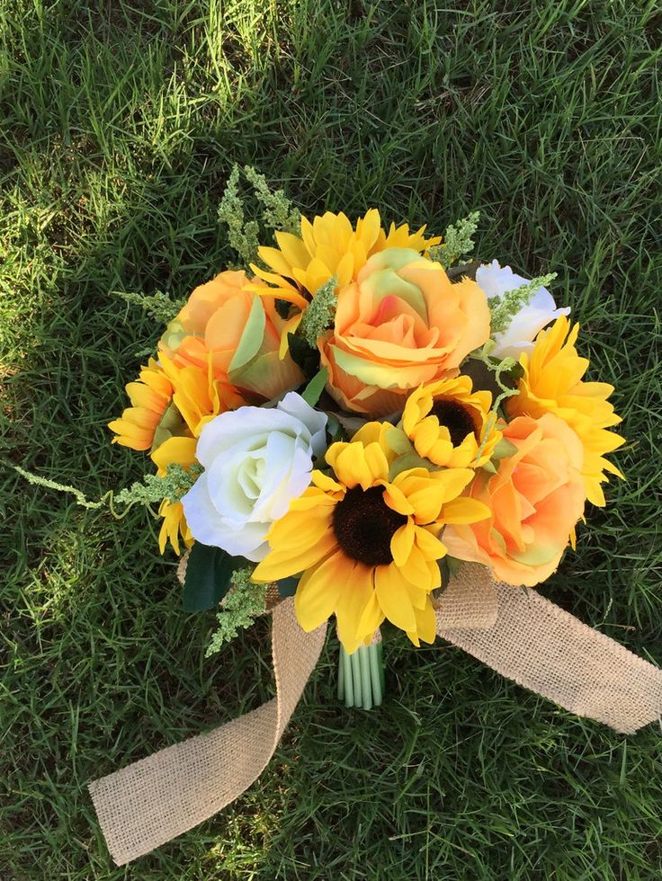 $59.99 Beautiful Sun Flower Rose Bouquet with Burlap wrapped
