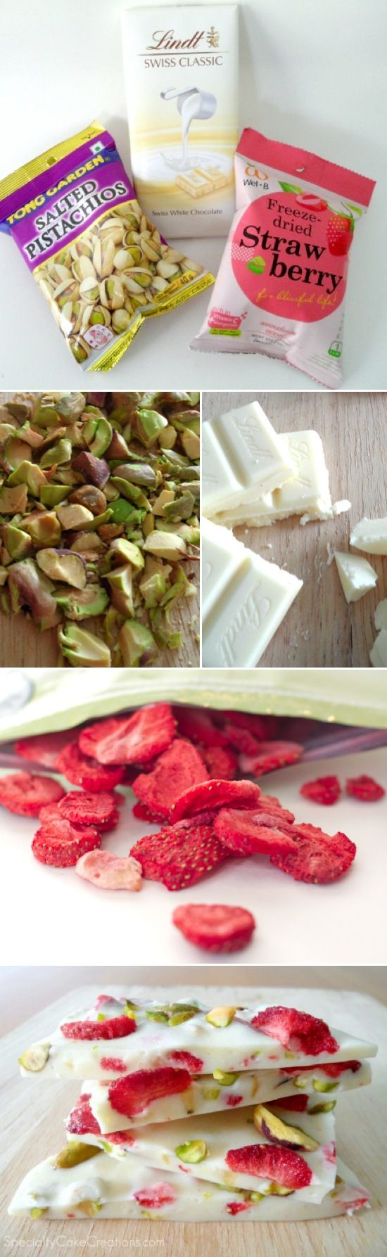 White chocolate, strawberry and pistachio bark