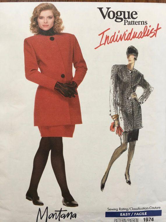 Vogue Vintage Claude Montana Sewing Pattern Sz 12 Suit 1974 Uncut Individualist 1980s shoulder pads, power dressing,  Etsy weseatree patterns 1980s