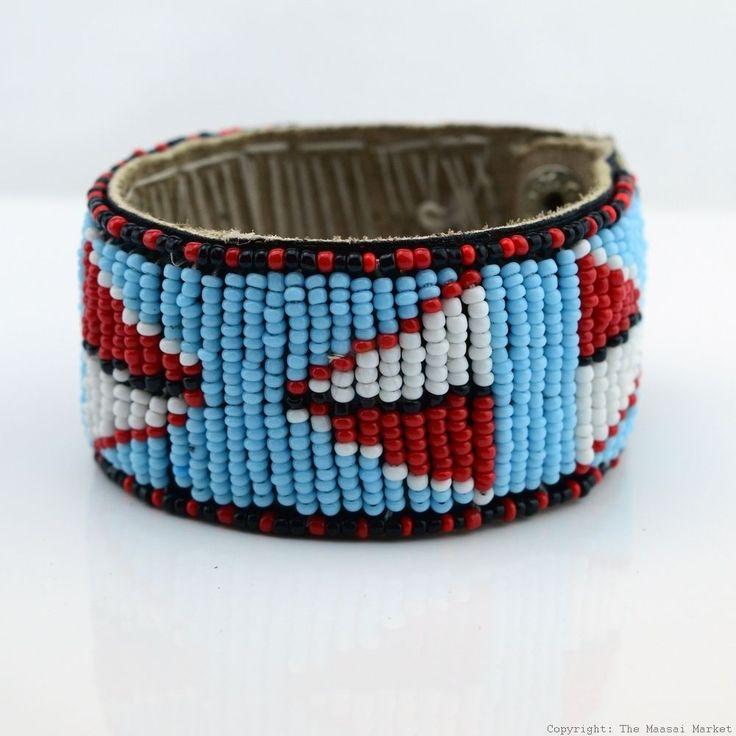 Maasai Market Handmade African Jewelry Masai Bead Leather Bracelet Cuff #400-33 #Handmade