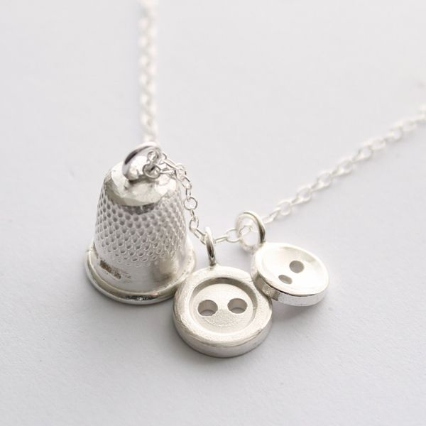 Button and thimble necklace
