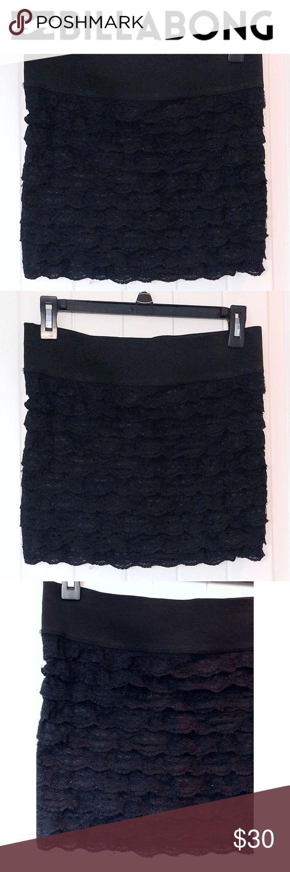 Ruffle Lace Mini Skirt Billabong Designer's Closet: Ruffle Lace Mini Skirt  (Black)   •Good Condition  -Gently Used   •Original Price: $49.00 Billabong Skirts Mini