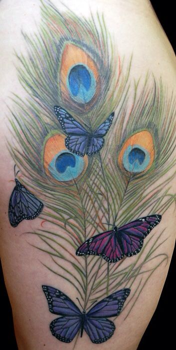 Feathers and Butterfly tattoo