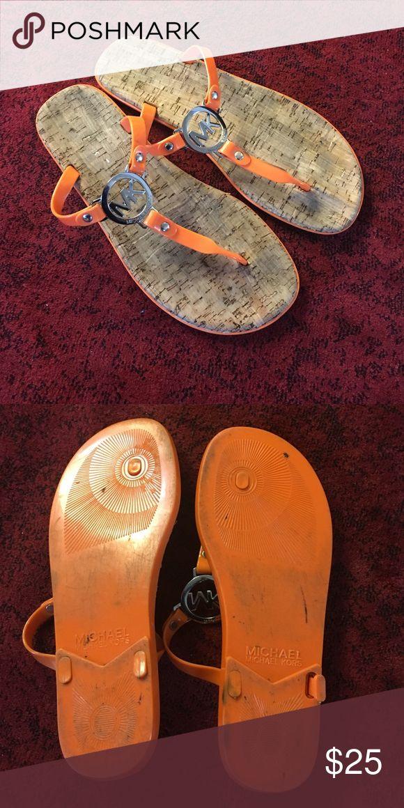 Michael Kors orange flip flops Excellent condition Michael Kors Shoes Sandals