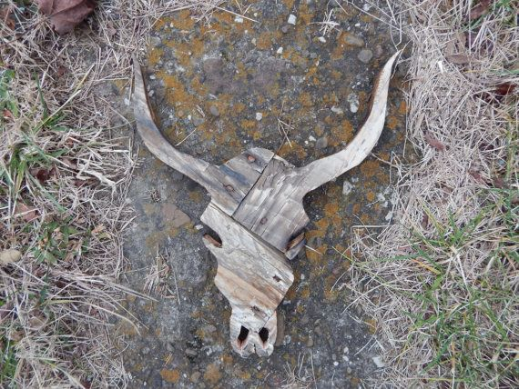 Rustic Cow Skull Pallet Wood Wall Art by MakeupAndMudCrafts