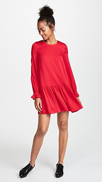 Red silk drop waist dress with long sleeves for the holidays- Milly