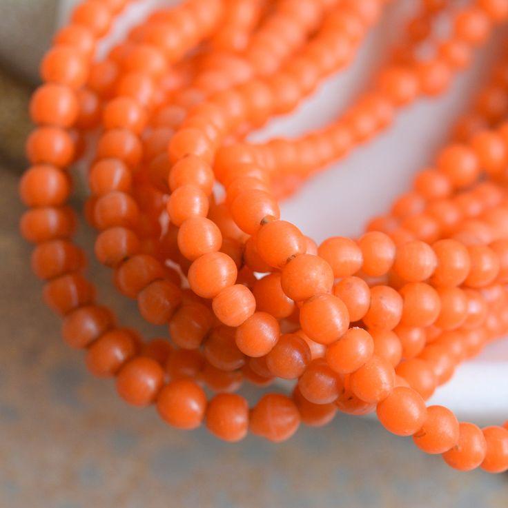 Small Orange Lampwork Glass Beads, 5mm Irregular Round Lampwork Glass Beads, Opaque Orange Glass Spacer Beads, One Strand, BB17-0127i-Orange