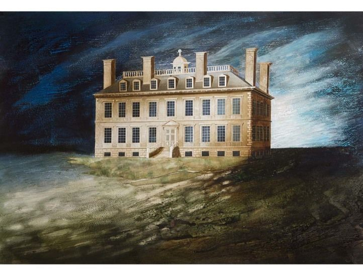 """""""Coleshill House, (Oxfordshire)"""" by Ed Kluz, 2014 (paper collage, ink and watercolour)"""