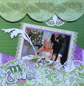 Wedding scrapbook page with the title Mr. & Mrs. from Cricut's Out of Character -  from Wedding Album 4