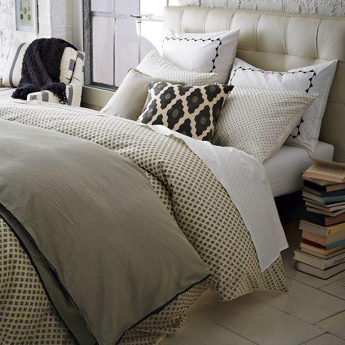 jacquard leaf duvet cover shams onyx west elm home. Black Bedroom Furniture Sets. Home Design Ideas