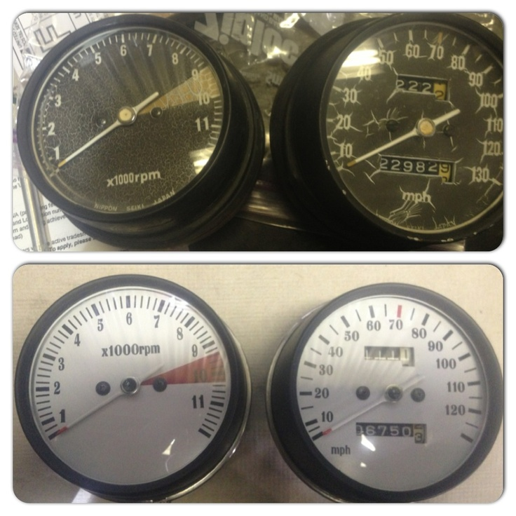Here's a before and after of a set of Honda CB500t gauges that I recently restored. It's a relatively easy and inexpensive project but makes a huge cosmetic improvement!